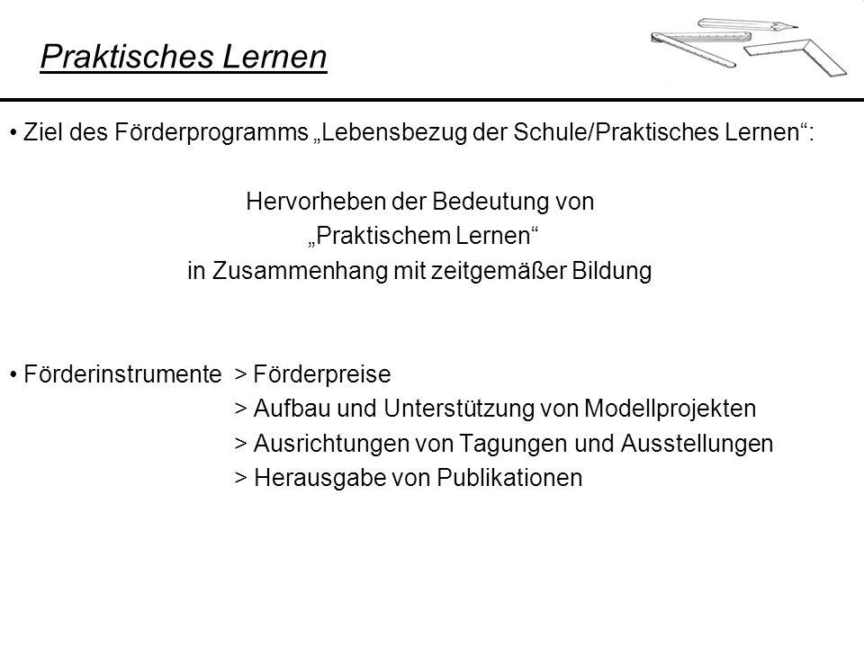 """Praktisches Lernen Ziel des Förderprogramms """"Lebensbezug der Schule/Praktisches Lernen : Hervorheben der Bedeutung von."""