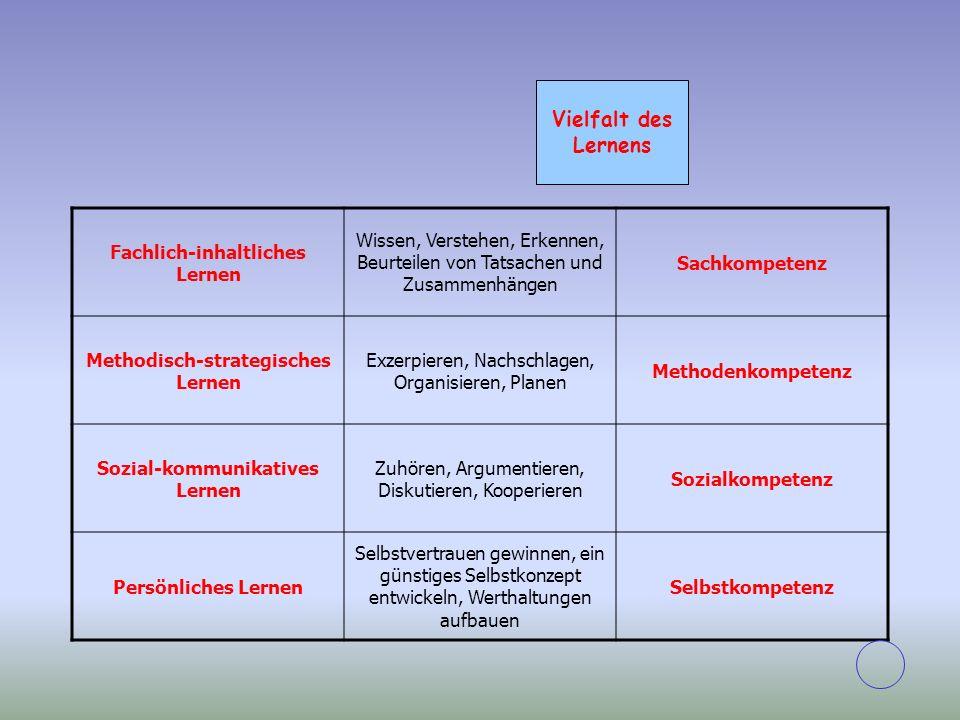 Vielfalt des Lernens Fachlich-inhaltliches Lernen