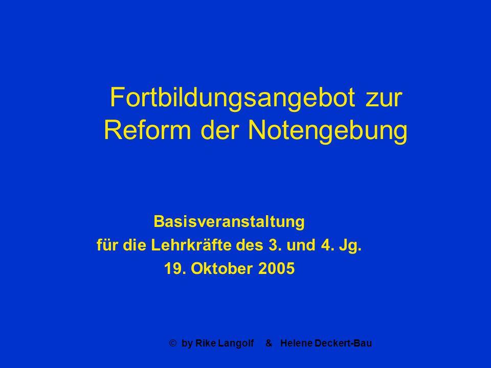 Fortbildungsangebot zur Reform der Notengebung