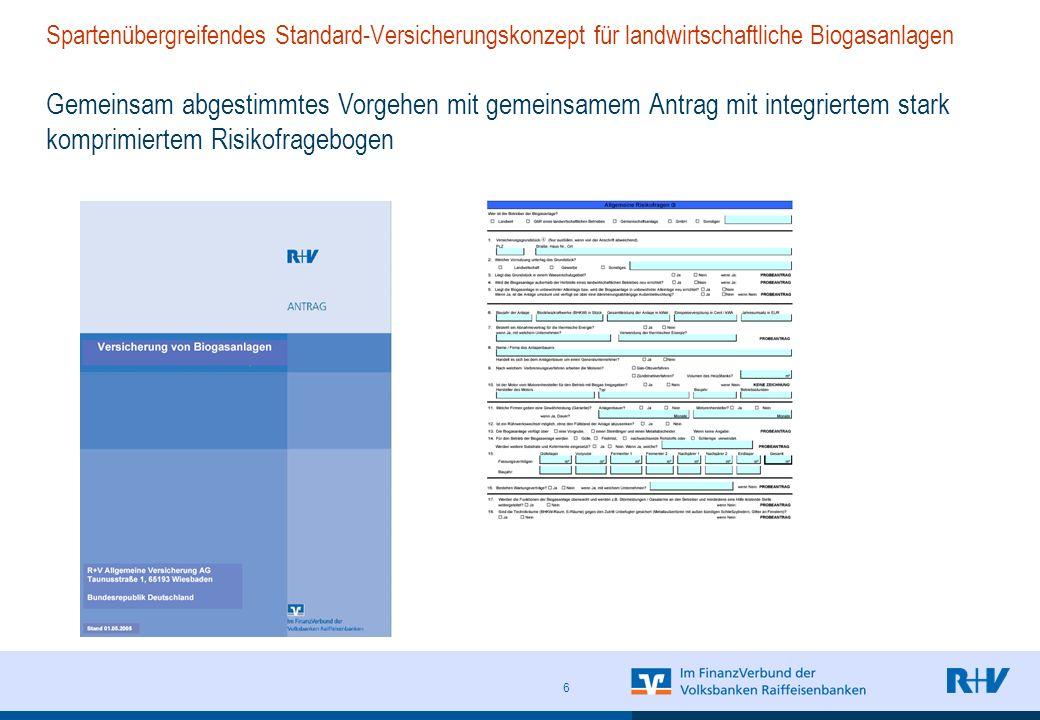 Spartenübergreifendes Standard-Versicherungskonzept für landwirtschaftliche Biogasanlagen