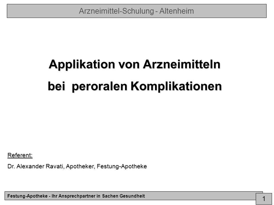 Applikation von Arzneimitteln bei peroralen Komplikationen