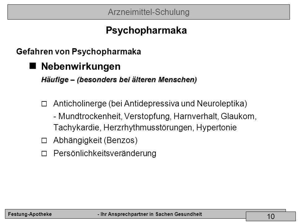Psychopharmaka Nebenwirkungen Gefahren von Psychopharmaka