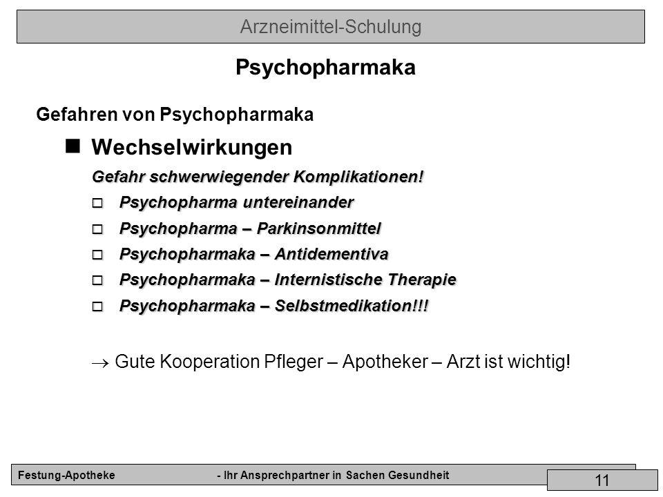 Psychopharmaka Wechselwirkungen Gefahren von Psychopharmaka