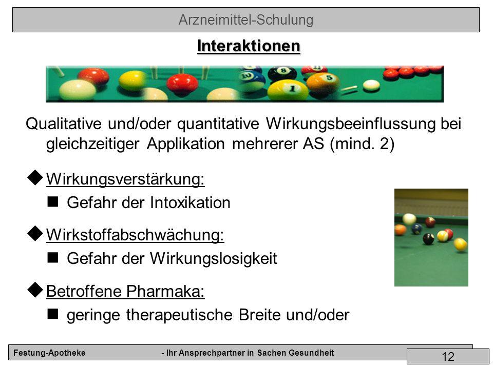Interaktionen Qualitative und/oder quantitative Wirkungsbeeinflussung bei gleichzeitiger Applikation mehrerer AS (mind. 2)