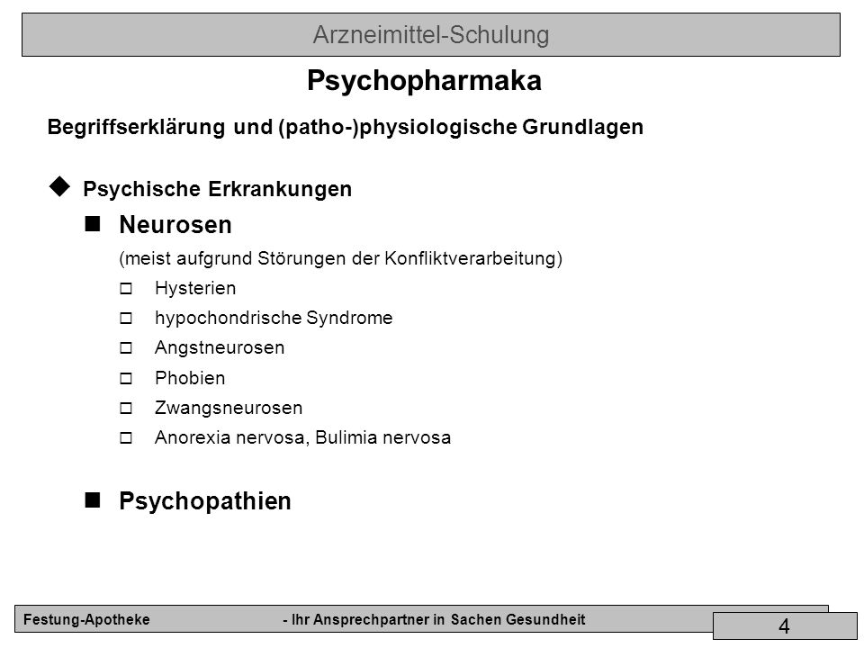 Psychopharmaka Neurosen Psychopathien
