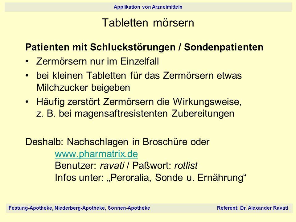 Tabletten mörsern Patienten mit Schluckstörungen / Sondenpatienten