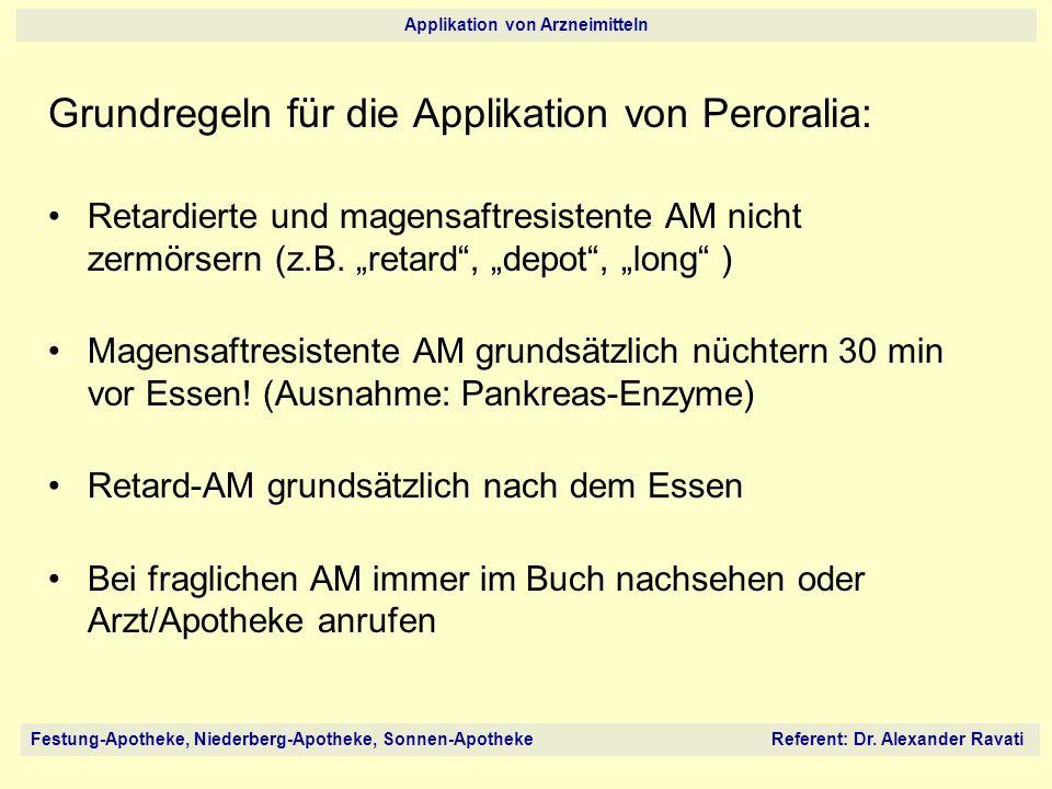 Grundregeln für die Applikation von Peroralia: