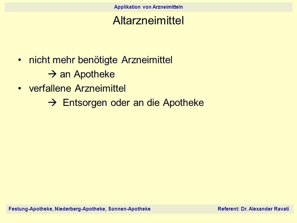 Altarzneimittel nicht mehr benötigte Arzneimittel  an Apotheke