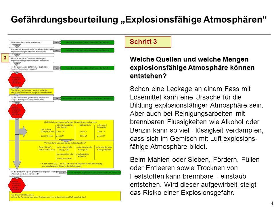 Schritt 3 3. Welche Quellen und welche Mengen explosionsfähige Atmosphäre können entstehen