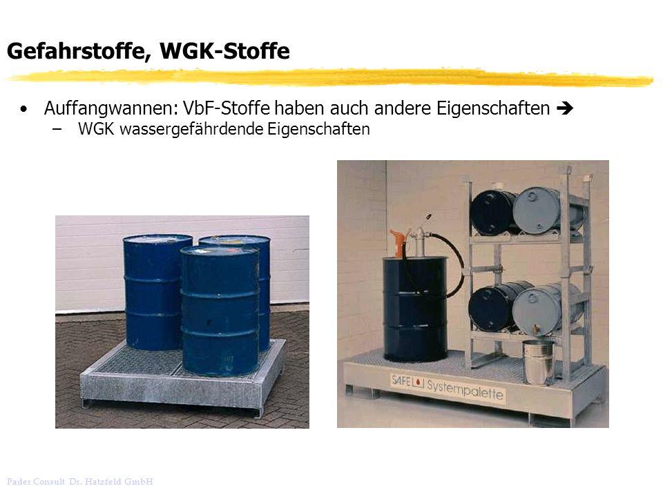 Gefahrstoffe, WGK-Stoffe