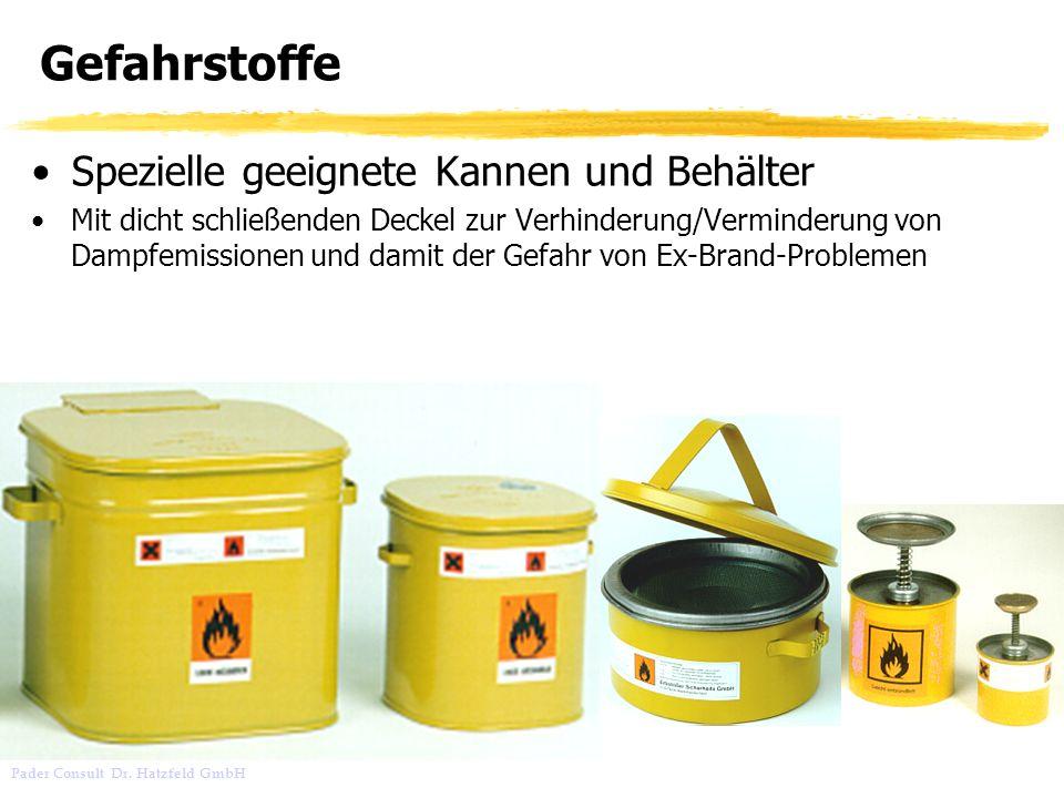 Gefahrstoffe Spezielle geeignete Kannen und Behälter