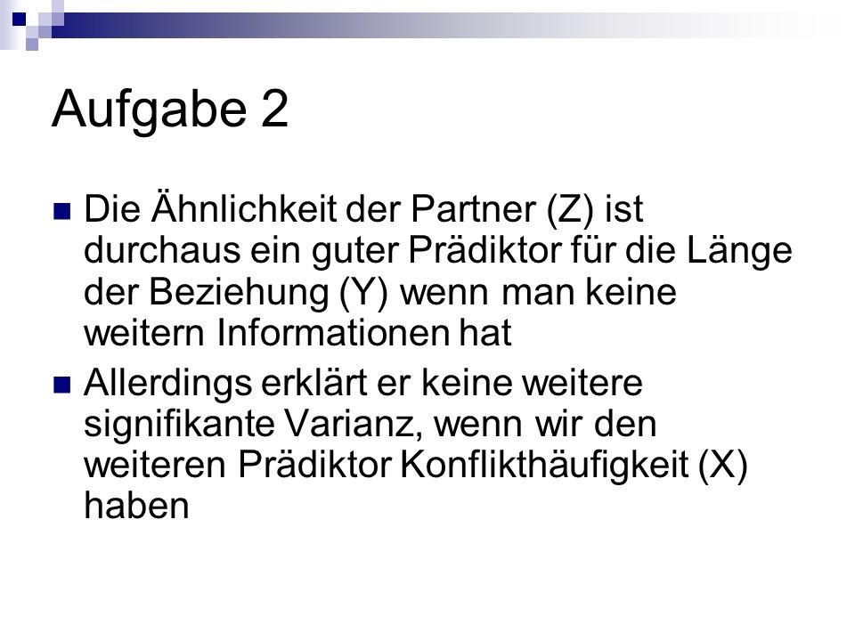 Aufgabe 2 Die Ähnlichkeit der Partner (Z) ist durchaus ein guter Prädiktor für die Länge der Beziehung (Y) wenn man keine weitern Informationen hat.