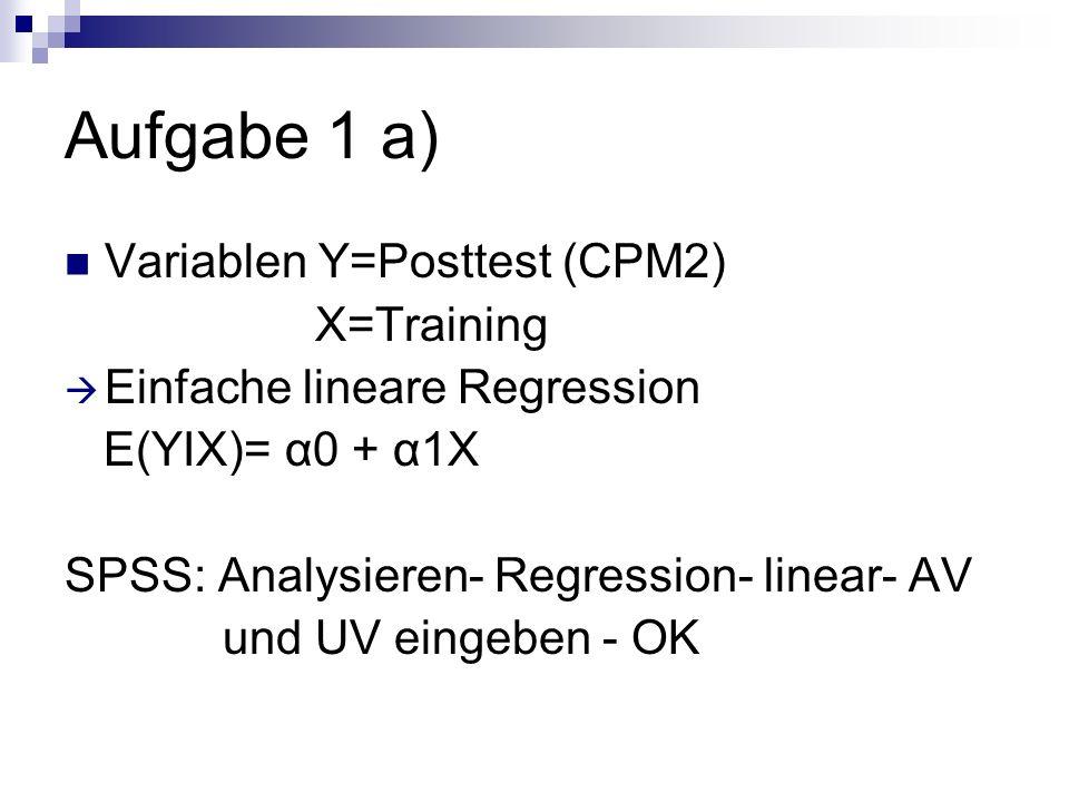 Aufgabe 1 a) Variablen Y=Posttest (CPM2) X=Training