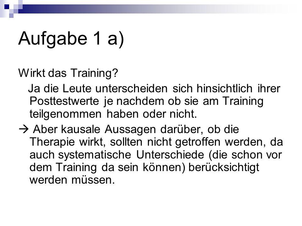 Aufgabe 1 a) Wirkt das Training