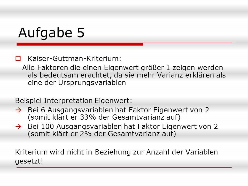 Aufgabe 5 Kaiser-Guttman-Kriterium:
