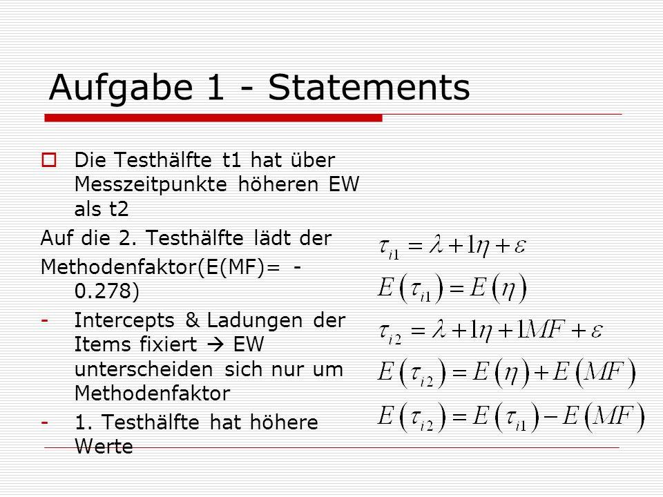 Aufgabe 1 - Statements Die Testhälfte t1 hat über Messzeitpunkte höheren EW als t2. Auf die 2. Testhälfte lädt der.