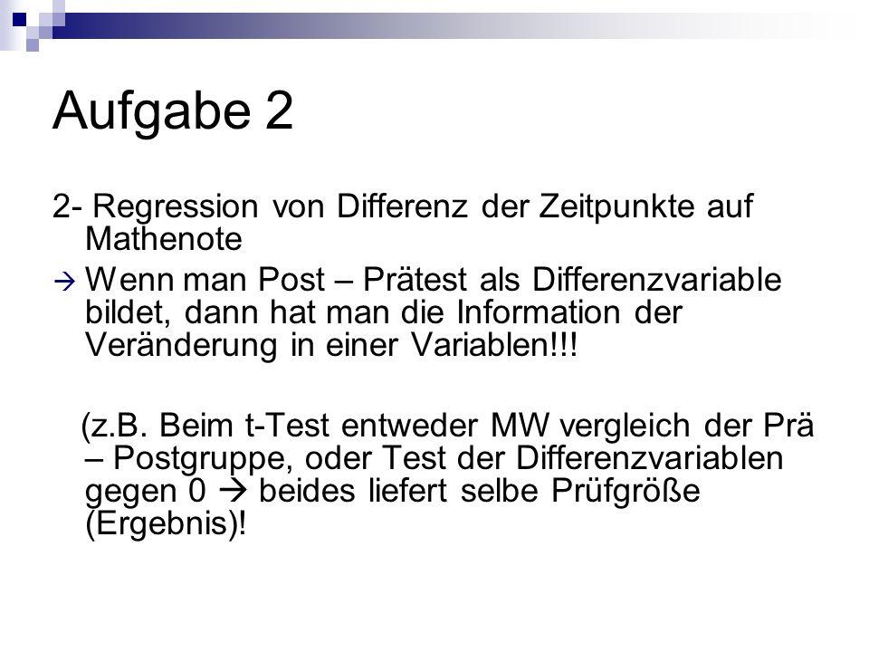 Aufgabe 2 2- Regression von Differenz der Zeitpunkte auf Mathenote