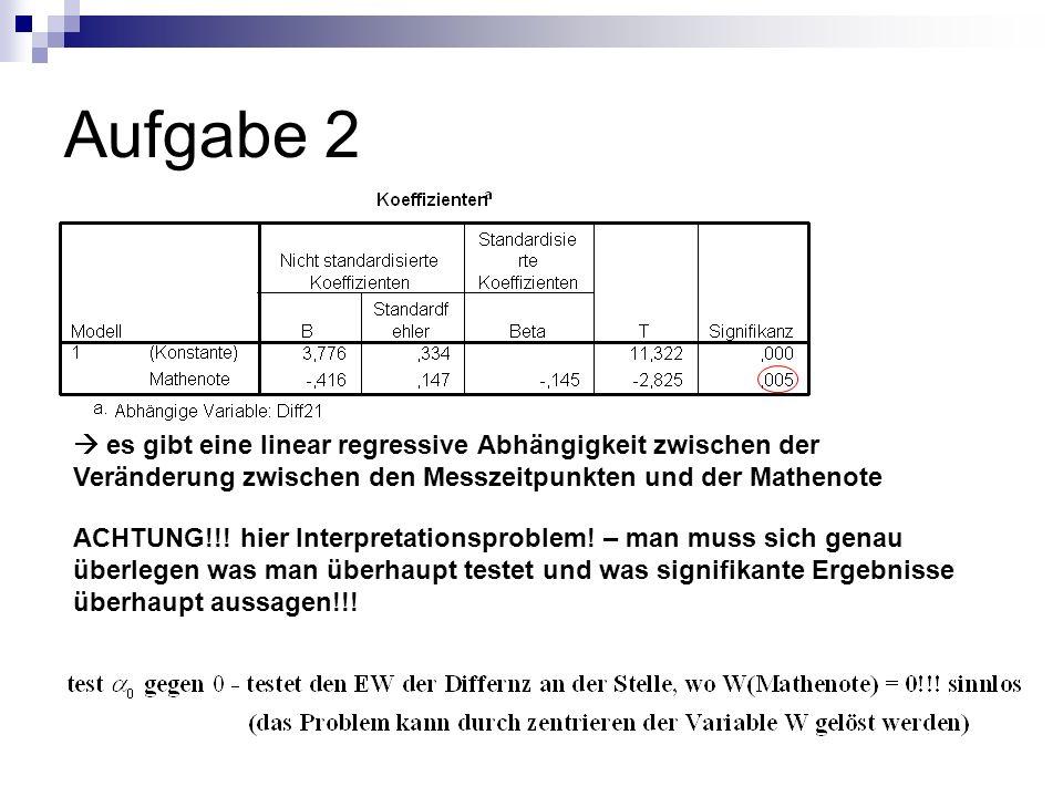 Aufgabe 2  es gibt eine linear regressive Abhängigkeit zwischen der Veränderung zwischen den Messzeitpunkten und der Mathenote.