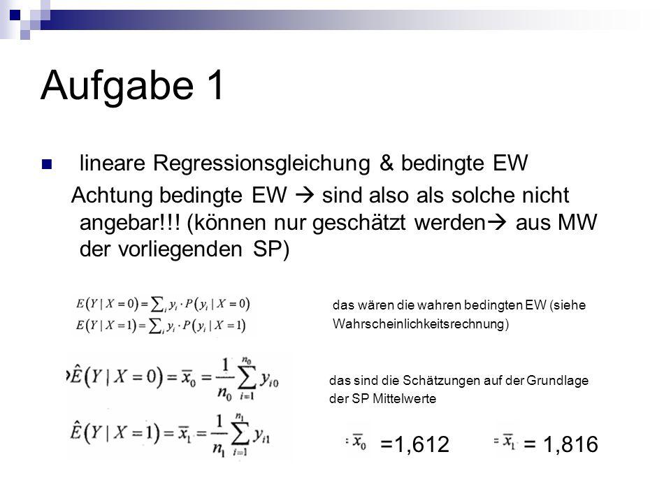 Aufgabe 1 lineare Regressionsgleichung & bedingte EW