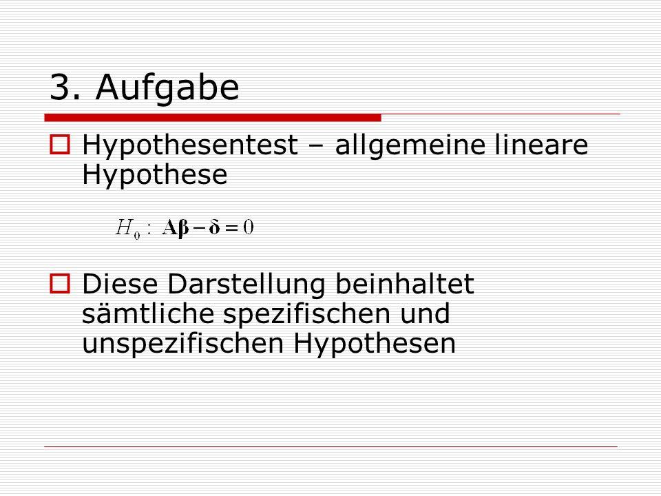 3. Aufgabe Hypothesentest – allgemeine lineare Hypothese
