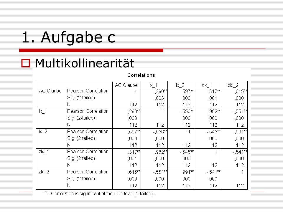 1. Aufgabe c Multikollinearität