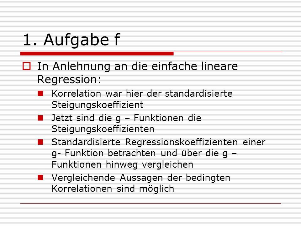1. Aufgabe f In Anlehnung an die einfache lineare Regression: