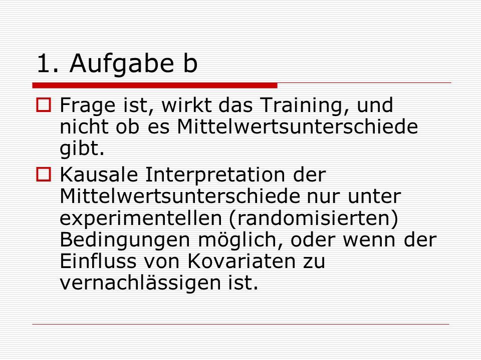 1. Aufgabe b Frage ist, wirkt das Training, und nicht ob es Mittelwertsunterschiede gibt.