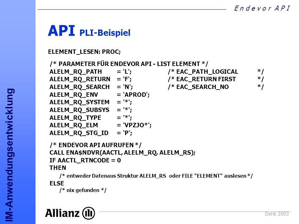 API PLI-Beispiel ELEMENT_LESEN: PROC;