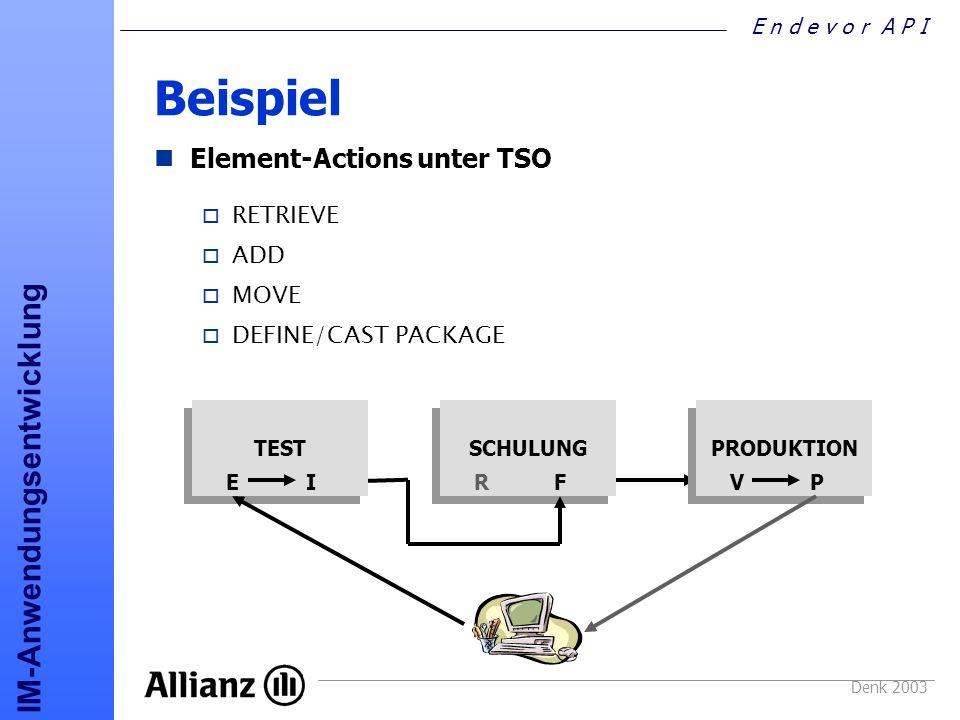 Beispiel Element-Actions unter TSO RETRIEVE ADD MOVE