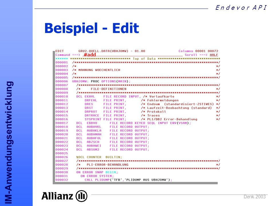 Beispiel - Edit #add Denk 2003