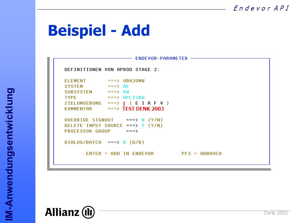 Beispiel - Add I TEST DENK 2003 Denk 2003