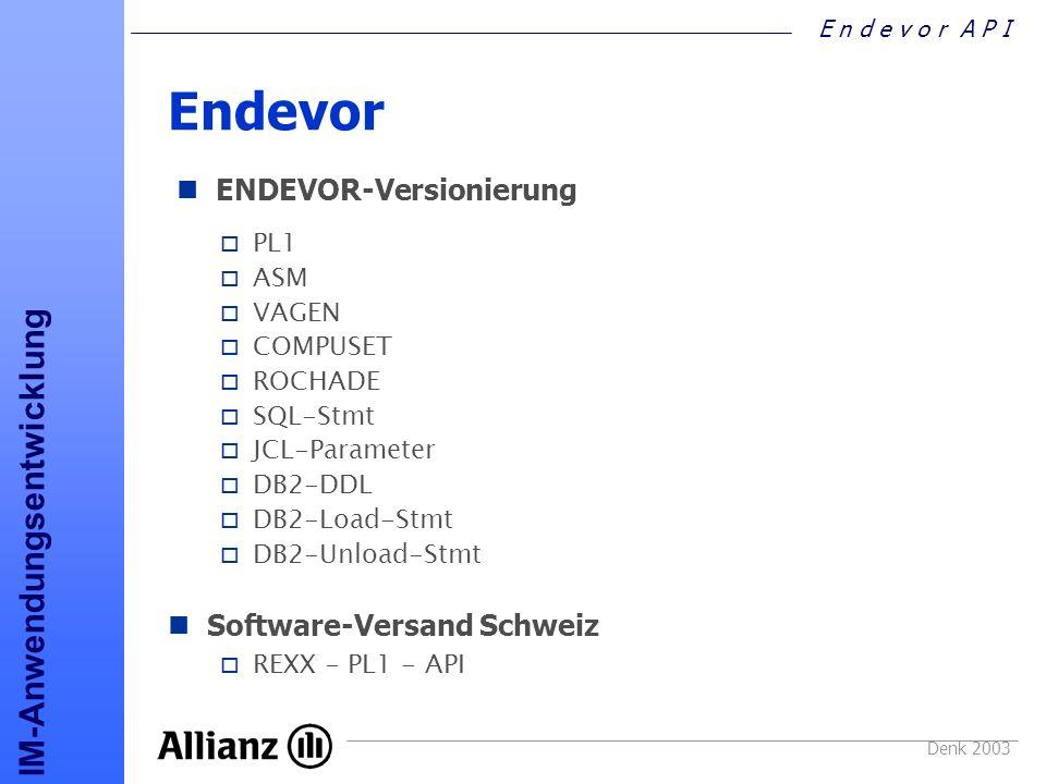 Endevor Versionierung ENDEVOR-Versionierung Software-Versand Schweiz