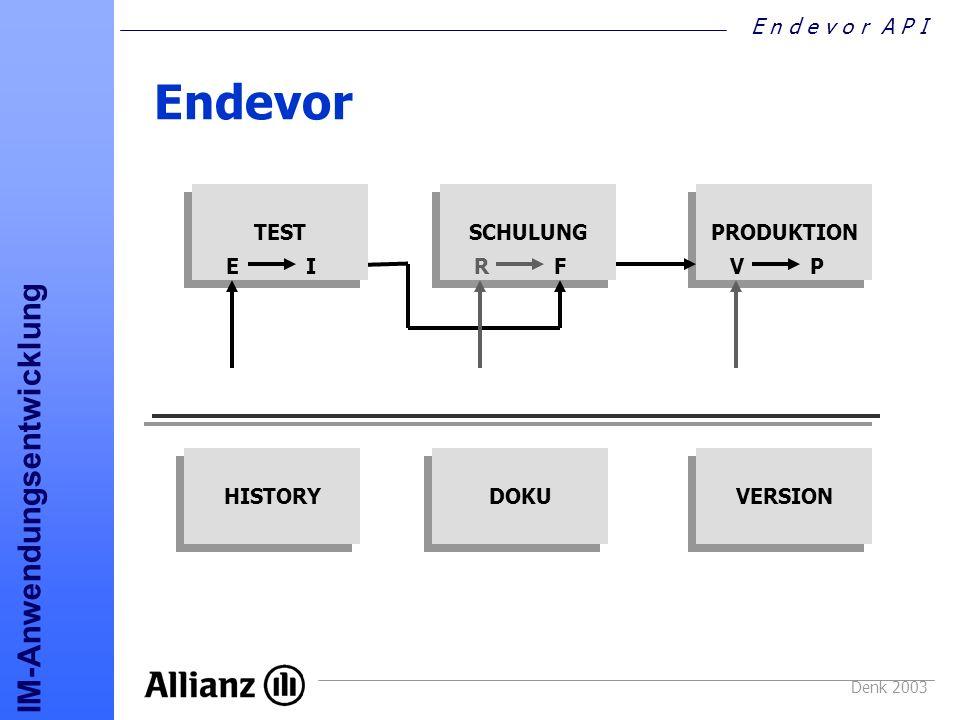 Endevor TEST SCHULUNG PRODUKTION E I R F V P HISTORY DOKU VERSION