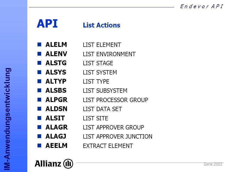 API List Actions ALELM LIST ELEMENT ALENV LIST ENVIRONMENT