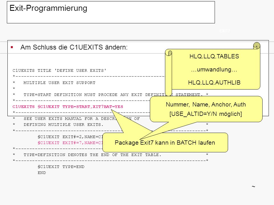Exit-Programmierung Am Schluss die C1UEXITS ändern: HLQ.LLQ.TABLES