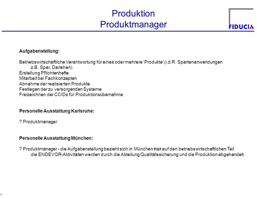 Produktion Produktmanager Aufgabenstellung: