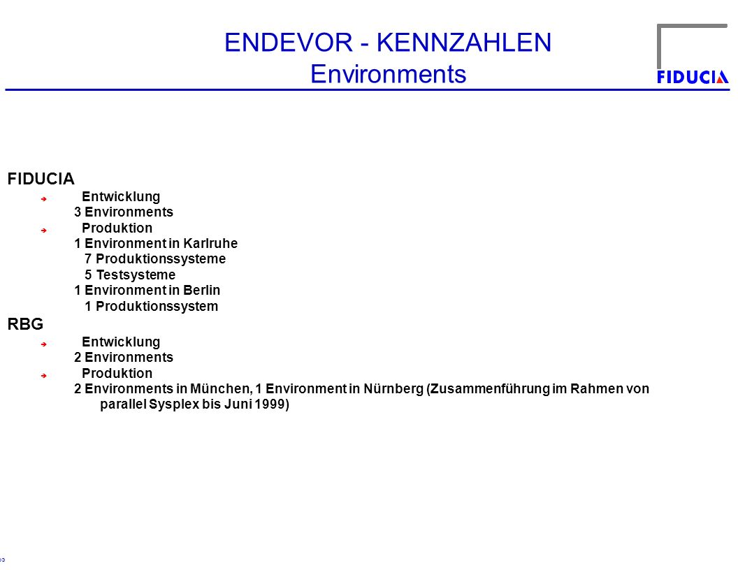 ENDEVOR - KENNZAHLEN Environments FIDUCIA RBG Entwicklung