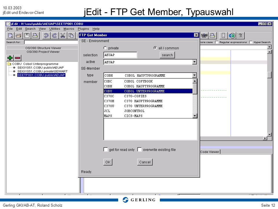 jEdit - FTP Get Member, Typauswahl