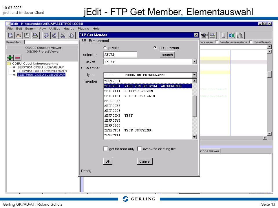 jEdit - FTP Get Member, Elementauswahl