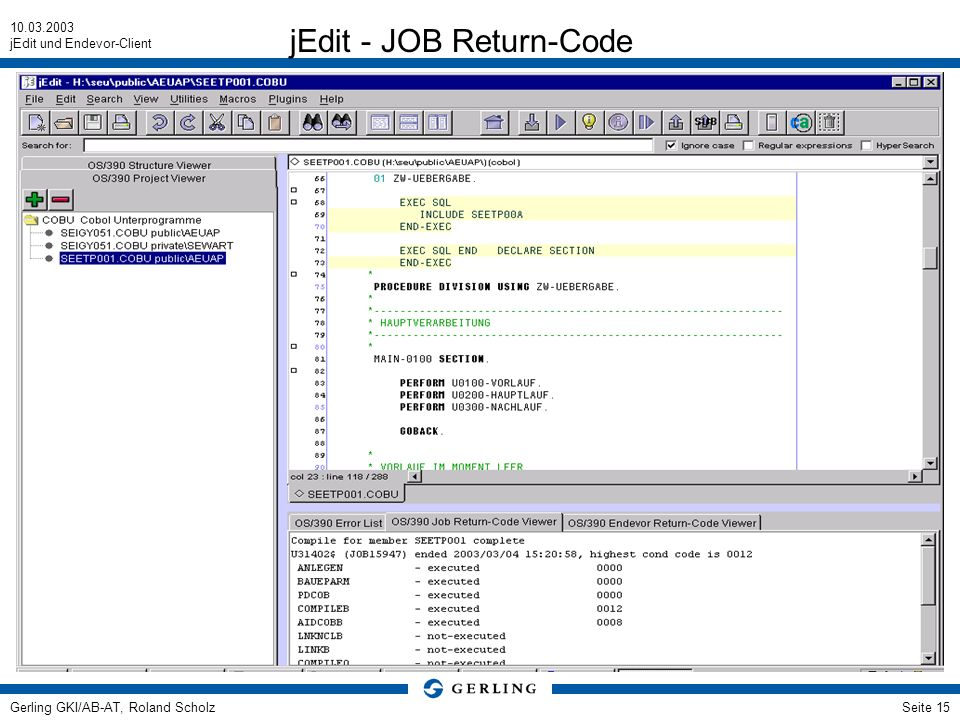 jEdit - JOB Return-Code