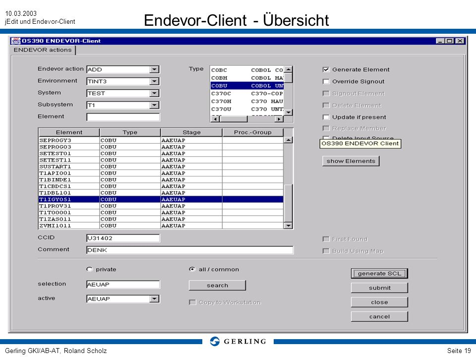 Endevor-Client - Übersicht