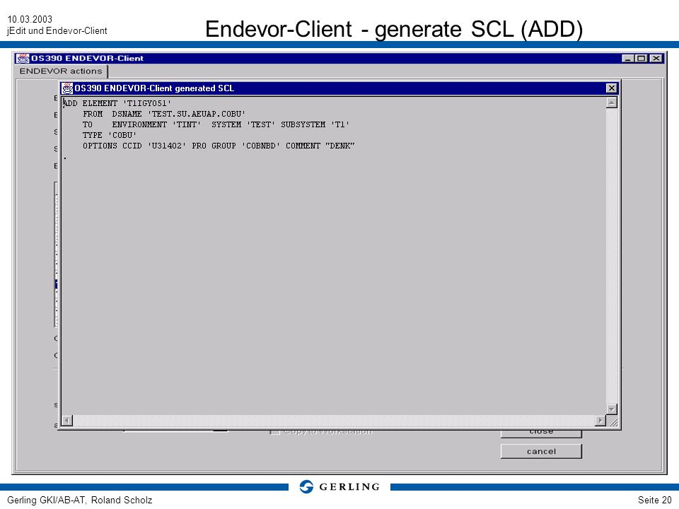 Endevor-Client - generate SCL (ADD)