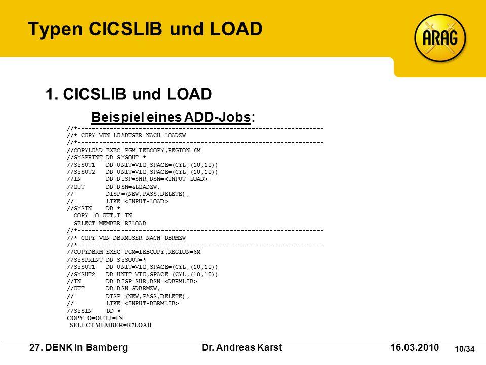 Typen CICSLIB und LOAD 1. CICSLIB und LOAD Beispiel eines ADD-Jobs:
