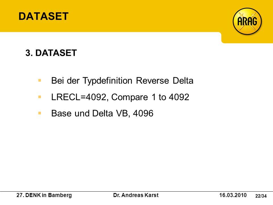 DATASET 3. DATASET Bei der Typdefinition Reverse Delta