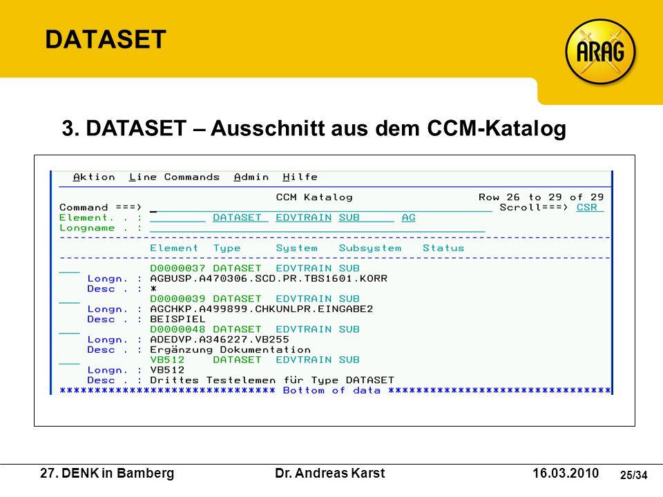 DATASET 3. DATASET – Ausschnitt aus dem CCM-Katalog