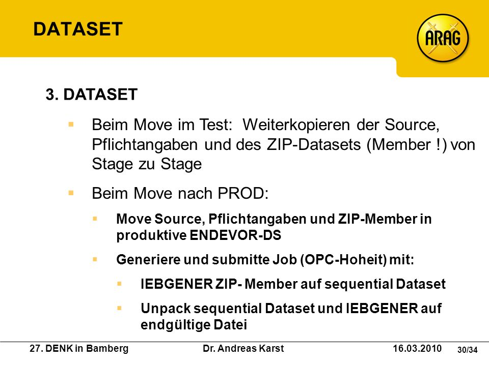 DATASET 3. DATASET. Beim Move im Test: Weiterkopieren der Source, Pflichtangaben und des ZIP-Datasets (Member !) von Stage zu Stage.