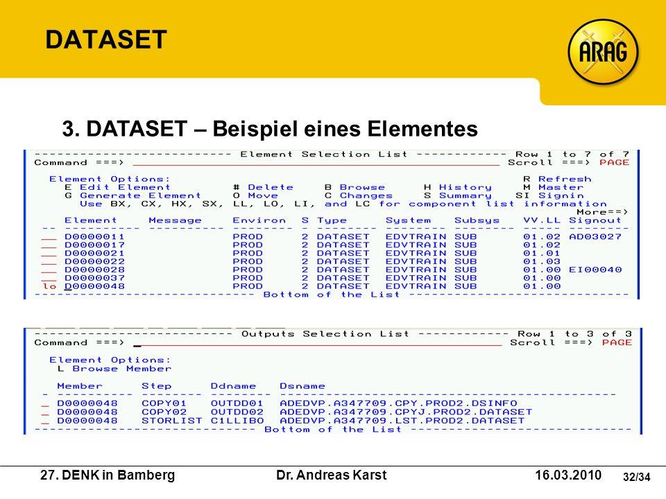 DATASET 3. DATASET – Beispiel eines Elementes
