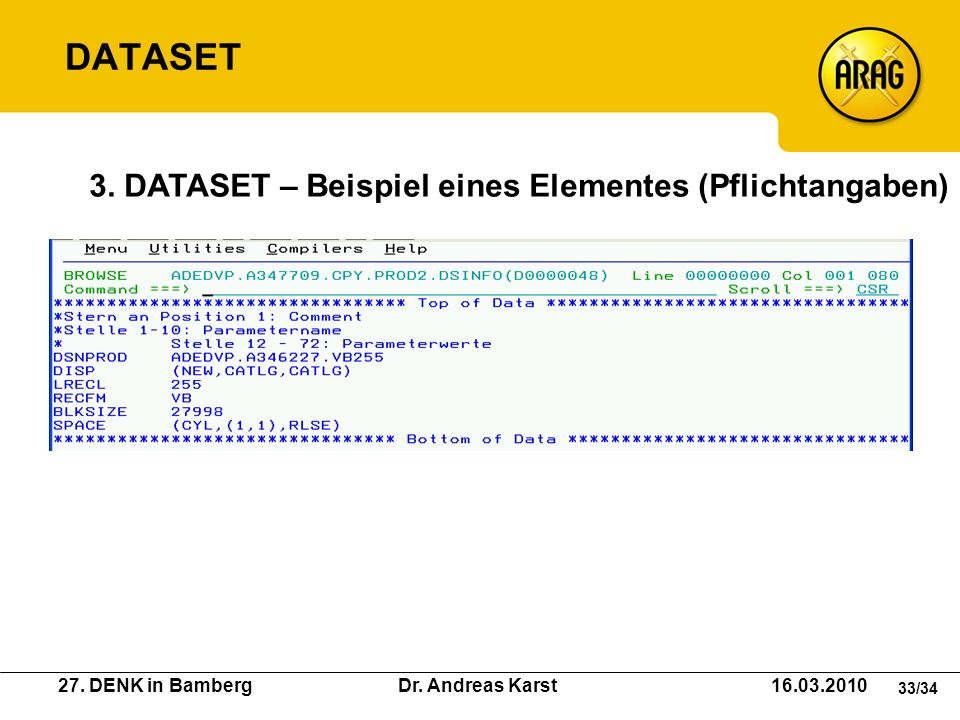 DATASET 3. DATASET – Beispiel eines Elementes (Pflichtangaben)