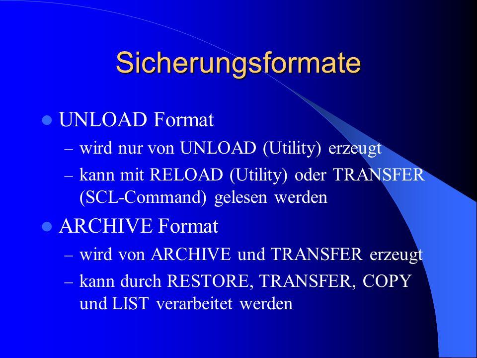 Sicherungsformate UNLOAD Format ARCHIVE Format
