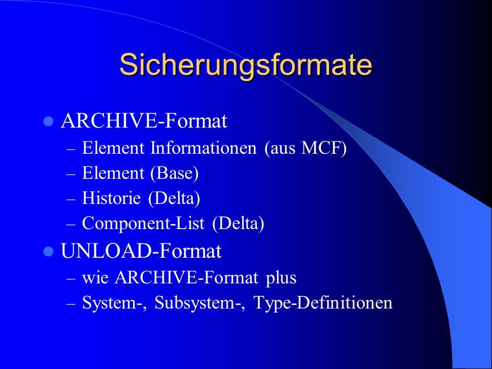 Sicherungsformate ARCHIVE-Format UNLOAD-Format